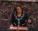 In this image from video, Rep. Val Demings of Florida, a House impeachment manager, speaks Tuesday in support of a rules amendment during the impeachment trial of President Trump held in the U.S. Senate. Still cameras are not allowed in the trial.