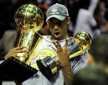 Kobe Bryant of the Los Angeles Lakers celebrates victory following Game 5 of the NBA Finals against the Orlando Magic in June 2009.