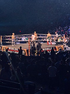 "Fatal Four Way (Left to right) Travis Banks, Jordan Devlin, Isiah ""Swerve"" Scott, and Angel Garza"