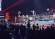 The Undisputed Era (Left to right) of Roderick Strong, Adam Cole, Bobby Fish, and Kyle O'Reilly complete their ring entrance.