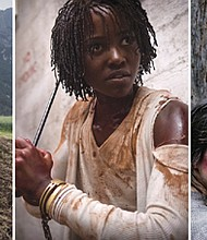From left, August Diehl in the film 'A Hidden Life' (photo by Reiner Bajo/courtesy 20th Century Fox), Lupita Nyong'o in Jordan Peele's thriller 'Us' (photo courtesy Universal Pictures), and Aisling Franciosi and Baykall Grnambarr in 'The Nightingale' (photo courtesy Transmission Films.)