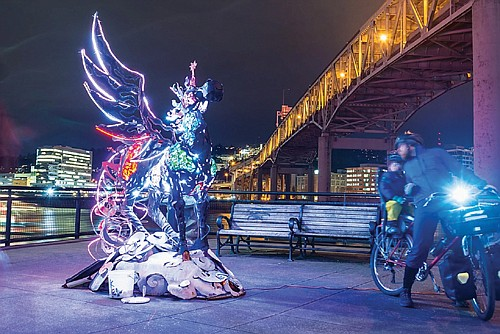 The Portland Winter Light Festival transforms, illuminates and animates Portland's nighttime landscape. The fifth annual event returns Thursday, Feb. 6 through Saturday, Feb. 8 on the grounds near OMSI, Tom McCall Waterfront Park and other downtown locations. Photo by Sean Gentry shows 'The Cosmic Messenger,' a prior light festival creation by local artist Miki Masuhara-page.