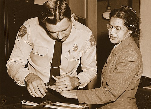 Rosa Parks, as she was fingerprinted by police during the Montgomery Bus Boycott, 1956.