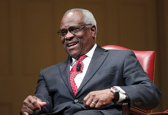 U.S. Supreme Court Jus- tice Clarence Thomas, who is known for his reticence, speaks for much of a new two-hour ...