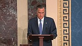 U.S. Sen. Mitt Romney of Utah is solemn Wednesday as he announces that he will break with his fellow Republicans and vote to convict President Trump on one of the two articles of impeachment.