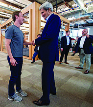 Founded by Dr. Priscilla Chan and Mark Zuckerberg in 2015, the Chan Zuckerberg Initiative (CZI) is a new kind of philanthropy that's leveraging technology to help solve some of the world's toughest challenges—from eradicating disease, to improving education, to reforming the criminal justice system. Zuckerberg (left) is shown with U.S. Secretary of State John Kerry in 2016.