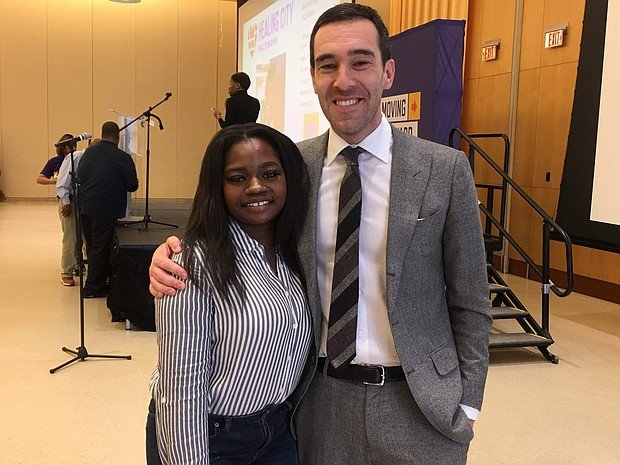 Coppin State University student, BrianHa McMillion and Councilman Zeke Cohen.