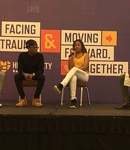 Panelists (l to r): Nyah Vanderpool; Antonio Moore; A'niya Taylor; and moderator Jabari Michael Thompson discuss how to recognize traumatic events and how to navigate the healing process at the Healing City Baltimore Symposium at Morgan State University Student Center Friday, February 7, 2020.