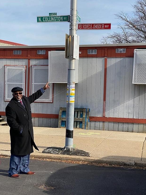 "Pastor Johnson 4 Photo Caption: ""Rev. Rodrecus M. Johnson, Sr. Way."""