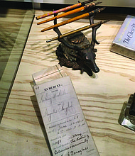 Frederick Douglass's pens, inkwell, and other artifacts featured in Tools of the Trade at American Writers Museum. Credit: American Writer Museum