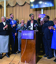 Cook County State's Attorney Kim Foxx accepts the endorsement of clergy from the South and West Sides at an event on Tuesday, Feb. 11, at First Baptist Congregational Church of Chicago. Photo Credit: Tia Carol Jones