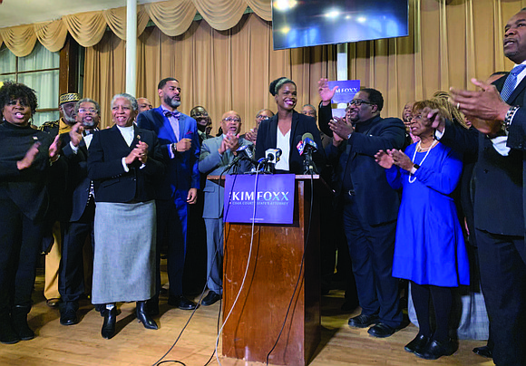 Cook County State's Attorney Kim Foxx stood surrounded by clergy members from the South and West sides as they endorsed ...