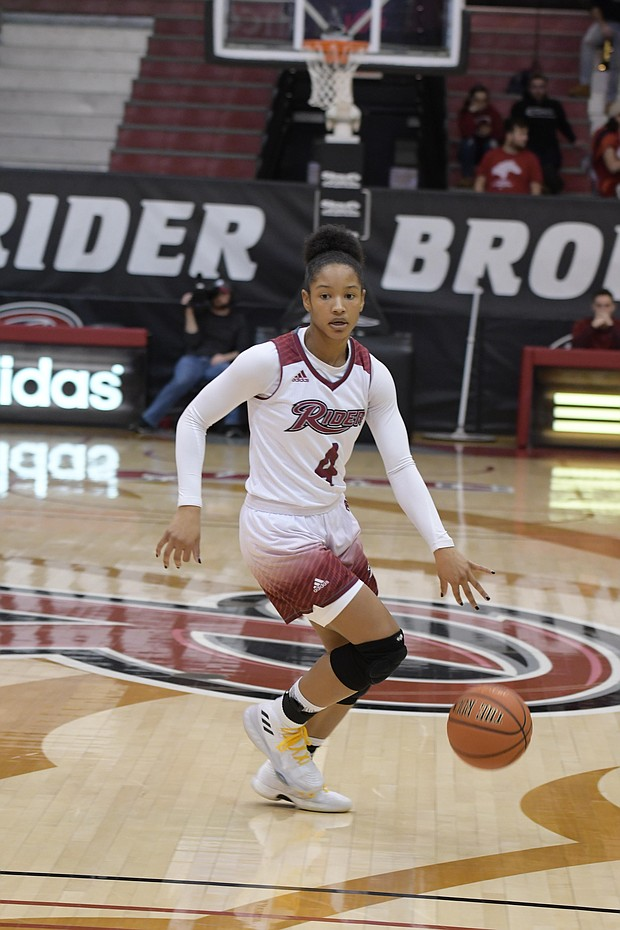 Rider senior guard Stella Johnson continues to be the D I leader in points per game.