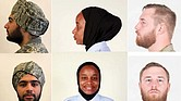 Examples of waiver-approved religious apparel styles for turbans, from left, hijabs and beards in the U.S. Air Force.