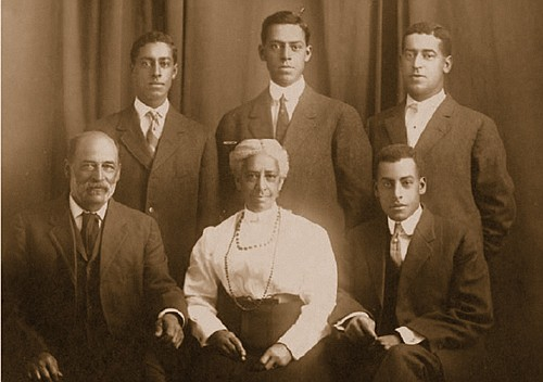 Early Portland pioneer and civic leader Louisa Flowers is surrounded by her family. Seated are her husband Allen (left) and son Lloyd. Standing are her sons (from left) Ervin, Elmer and Ralph.
