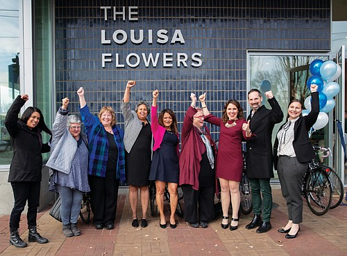 Community leaders celebrate the opening of the Louisa Flowers apartments last November. Named for a prominent black woman steeped in early Portland history, the 240 unit affordable housing development in the Lloyd District is the largest in 50 years. Joining the celebration were Multnomah County Chair Deborah Kafoury, Commissioner Susheela Jayapal, Home Forward executive Michael Buonocore and many others.