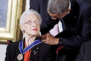 President Obama awards Katherine G. Johnson, then 97, the Presidential Medal of Freedom, the nation's highest civilian honor, during a ceremony Nov. 24, 2015, in the East Room of the White House.
