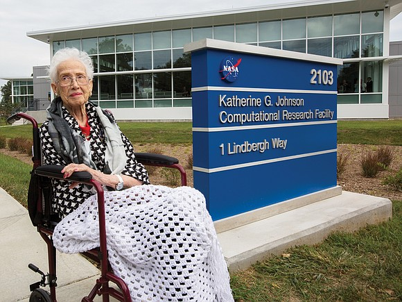 Katherine G. Johnson, the mathematical genius whose calculations took her from a behind-the-scenes job in a segregated NASA as portrayed ...