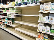 Near empty shelves of toilet paper are seen Monday at the Natural Grocers on Northeast Martin Luther King Jr. Boulevard as shortages of everyday supplies are becoming common sights at Portland area stores as people prepare to stay at home if they get sick or find the spread of the coronavirus gets much worse.