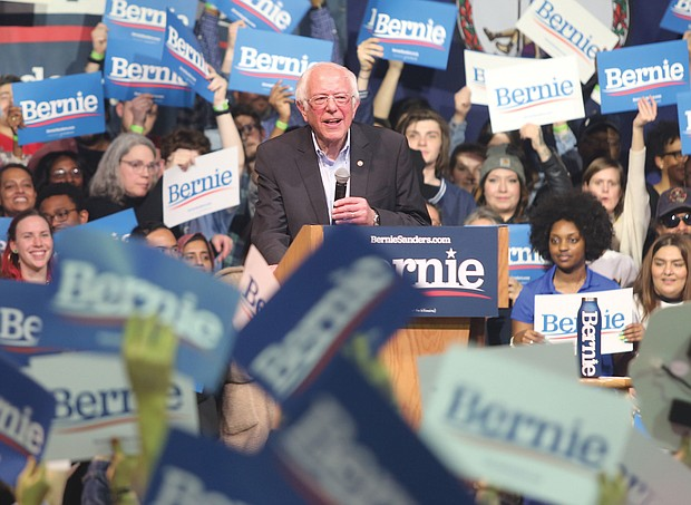 U.S. Sen. Bernie Sanders receives a warm welcome at his rally last Thursday at the Arthur Ashe Jr. Athletic Center in North Side. He finished a distant second Tuesday in Virginia's presidential primary.
