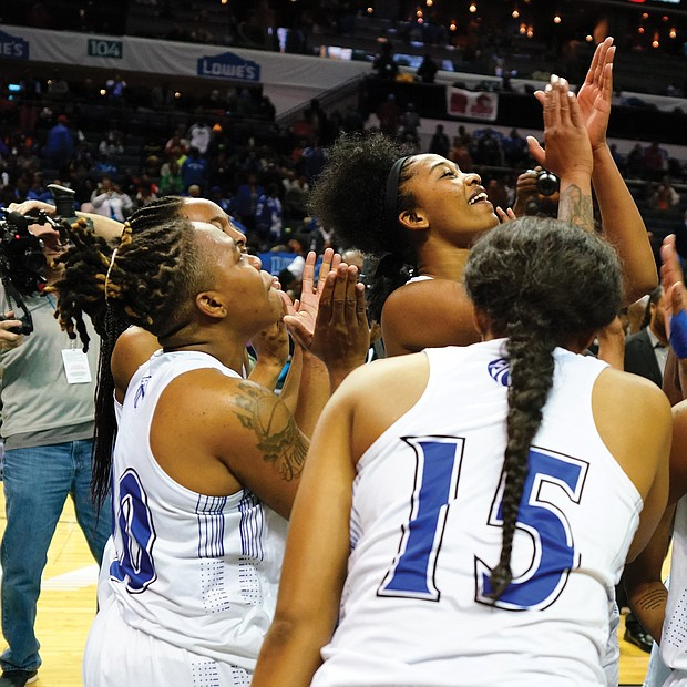 After three years knocking on the door of a CIAA championship, Fayetteville State's Lady Broncos finally win and celebrate after beating Bowie State 61-53 last Saturday.