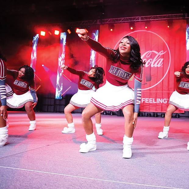 The Virginia Union University Rah Rahs show off their moves during the tournament's cheerleading competition.