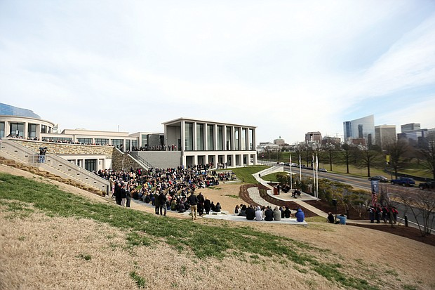 Hundreds of people gather for the dedication and grand opening of the $25 million addition to the Virginia War Memorial that honors those who gave their lives in military service. The ceremony, held last Saturday at the war memorial at 621 S. Belvidere St., featured retired Gen. John P. Jumper of Spotsylvania, former chief of staff of the U.S. Air Force, as the keynote speaker. The expansion project took two years to complete and includes the new C. Kenneth Wright Pavilion, a 25,000-square-foot building, and an expanded Shrine of Memory listing the names of those killed in the wars in Afghanistan, Iraq and other recent military actions. The facility has a new exhibit hall, art gallery and research library, as well as a 350-seat auditorium. The expansion also provides room for the Virginia Medal of Honor Gallery and created an additional 128 parking spaces in a new underground parking deck.