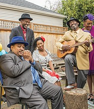 """Actors from Portland's PassinArt production of """"Seven Guitars."""" The dramatic play about African American life in the 20th Century was cancelled Monday just as it was scheduled to begin because of concerns over the coronavirus epidemic. Pictured (from left) are cast members  Josie Seid,  Bobby Bermea, Steve Lee, Lydia Fleming, Victor Mack , Cycerli Ash  and Jerry Foster."""