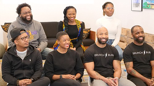 Panelists: (Back row, l-r): Tsanonda Edwards, Above It All Inc.; Sha'Von Terrell, The Black Church Food Security Network; Brianna Billups, Fully Grown, LLC. (Front row, l-r): Quentin Vennie, wellness expert and author; Jenell Steele, registered nurse and fitness coach; Anthony Sutton and Will Walker,  Brunch N' Burn.