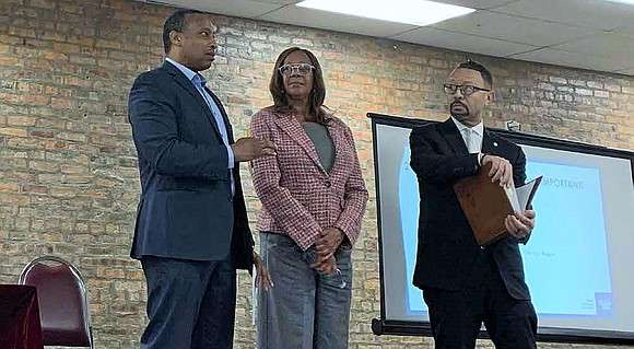 Greg Mitchell, 7th ward Alderman; Leslie Hairston, 5th Ward Alderman; and Bill Lowry, District 3 Cook County Board Commissioner, participated ...