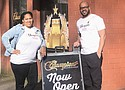 Champions Barbershop owners Christina and Jamaal Lane of Portland celebrate the opening of a third location in a storefront on the Portland State University campus at 1430 S.W. Park Ave.