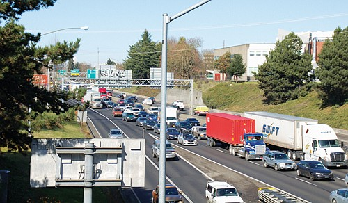 The Oregon Transportation Commission is recruiting at-large members of the public to form a new advisory committee to look at equity and mobility issues for the proposed tolling of the I-5 freeway (above) through north Portland, I-5 in southwest Portland, and on I-205 through east Portland.