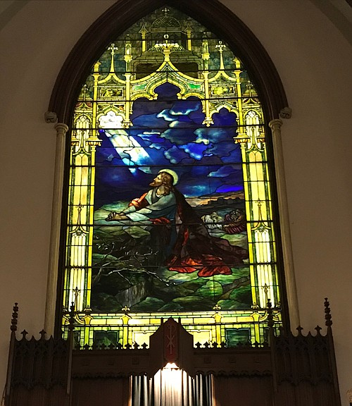 This stunning stained glass is among those you will find at the historic church.