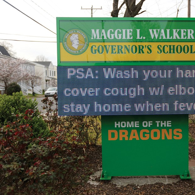 Maggie L. Walker Governor's School uses its electronic sign to post health messages to the community.