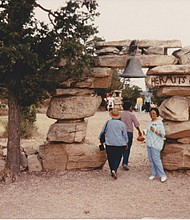 Carla Joelle Brown retraced steps of  her grandparents' journey around the country. Above left, Carla revisited Hermits Rest, Grand Canyon, Arizona in 2018. (Photo: Thomas A. Huggins). Above Right: Frances Graham at Hermits Rest, Grand Canyon in 1989