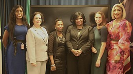 L-R -- Amanda Obidike, Alice Seddon, Dr. Afolabi Ibukun, Anthonia Agbonifo, Jennifer Woods, and Charlotte Essiet. Photo: STEMi Makers Africa.