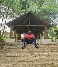 Rashad McCrorey at the Aburi Botanical Gardens in Aburi, Ghana