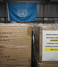 Mayor Bill de Blasio and City agencies picked up a donation of 250,000 face masks being given by the United Nations and  U.S. Missions to the United Nations