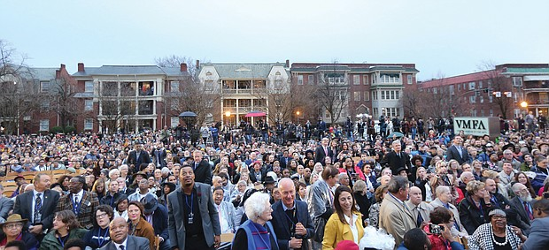 """Before: Hundreds of people gather on the grounds of the Virginia Museum of Fine Arts for the unveiling of artist Kehinde Wiley's equestrian statue, """"Rumors of War,"""" on Dec. 10, 2019."""