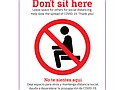 """TriMet is placing signs on seats in buses and trains to encourage social distancing. The signs that say """"Don't sit here"""" are an effort to help riders find seats that separates them from where others are sitting, and from the operator on a bus, by at least 6 feet."""