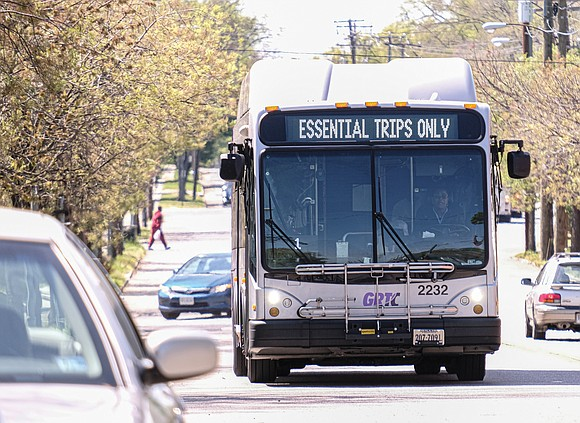 Instead of a route number, GRTC is now sending a message on its bus displays urging people to avoid riding ...