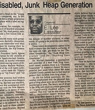 The Disabled, Junk Heap Generation, one of the many editorial pieces Dr. Lassiter wrote as a columnist for The News American
