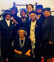 The Rev. Myeskia C. Watson, Pastor of Mt. Ararat Baptist (back row fourth from left) and Mt. Ararat Deaconesses. Seated is 99-yr-old Deaconess Lillian Hale, and standing far right is Pastor Watson's mother, the Rev. Sandra Coger.