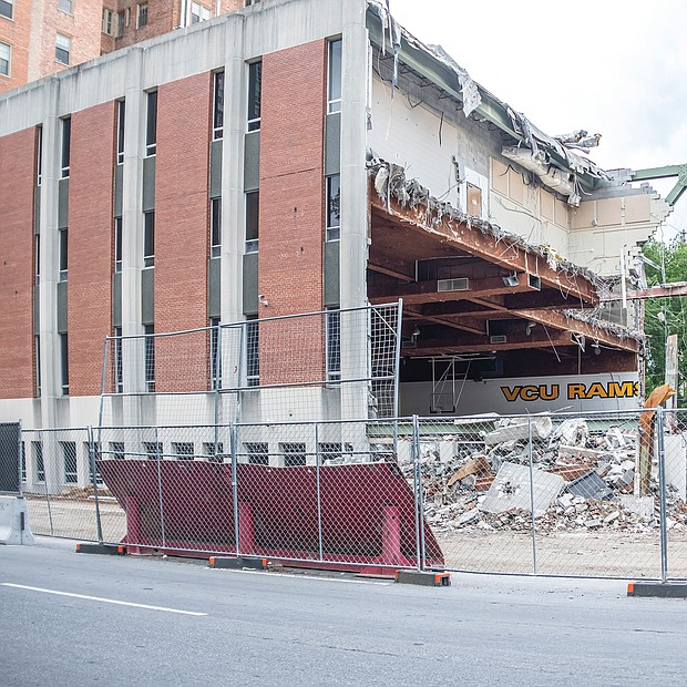 Demolition of the old Franklin Street Gymnasium on the campus of Virginia Commonwealth University is underway. The long vacant building at 817 W. Franklin St. is being cleared to make way for a $121 million, six-story building that will be devoted to classes and programs involving STEM—science, technology, engineering and math. The goal is to increase the number of VCU graduates heading into those high-demand fields. Construction of a new building on the old gym site has been planned for some time and gained the green light a year ago from the General Assembly and Gov. Ralph S. Northam.