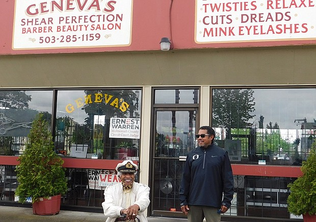 Paul Knauls (left) and Paul Knauls Jr., owners of Geneva's Shear Perfection, a legacy barbershop and salon located in the heart of Portland's African American community, announce the closing of their landmark business due to economic losses caused by the coronavirus public health crisis.