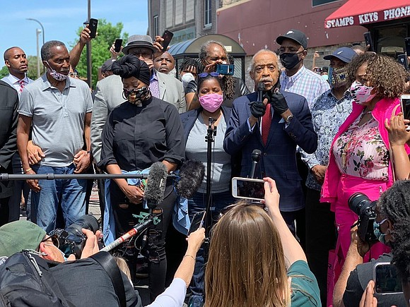 Eric Garner's mother Gwen Carr accompanied Rev. Al Sharpton as they appeal for justice and accountability in the wake of ...
