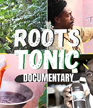 "(Left) The documentary, ""Roots Tonic: Jamaica's Cure All Drink,"" explores Jamaica's ethnomedical heritage of making Roots Tonics, herbal remedies made with herbs, roots and plants. (Right) Loyola University graduate Linton Hinds, Jr., directed the documentary."