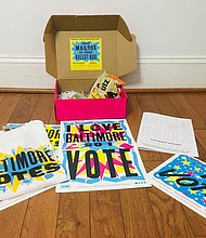 """Party at the Mailbox"" gift box from Baltimore Votes and Black Girls Vote."