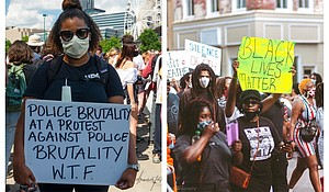 Protests in Atlanta (left) and Fayetteville, NC
