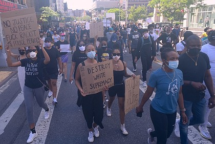 Protesters in the streets letting their voices be heard